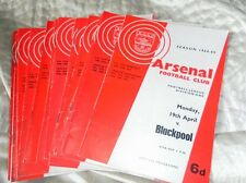 ARSENAL HOME PROGRAMMES FROM 1964/5