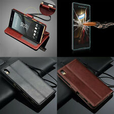 Luxury Leather Wallet Flip Cover Stand Case + Tempered Glass For Sony Xperia Z4