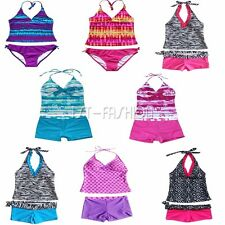 Summer Girl Child Two Piece Tankini Halter Bikini Set Swimming Swim Bathing Suit
