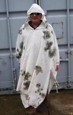 GERMAN ARMY SURPLUS ISSUE G1 SNOW CAMO PONCHO-WHITE COTTON GHILLIE SNIPER COVER