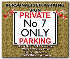PERSONALISED PRIVATE NO PARKING HIGHLY REFLECTIVE RIGID SIGN WEATHERPROOF