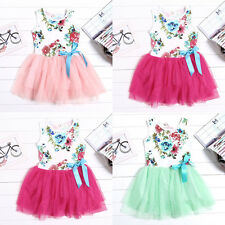 New Beautiful Kids Girls Floral Toddlers Tulle Bow Princess Tutu Dresses 1-5Y