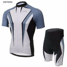 XINTOWN Cycling Jersey Mens Bike Team Short Sleeve Bicycle Sets Bib Shorts Grey