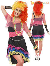Size 8-18 Ladies 1980s Retro Fancy Dress Costume Neon Rave Disco Womens Adult