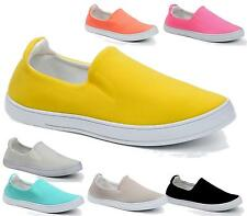 NEW WOMENS TRAINERS LADIES PUMPS FLATS SLIP ON SKATER SHOES CASUAL SIZE 3-8