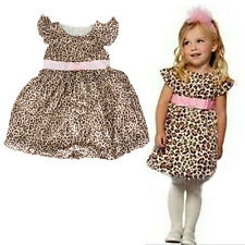 New Baby Girls Leopard Party Dresses Summer Clothes One Piece Outfits size 2-6Y