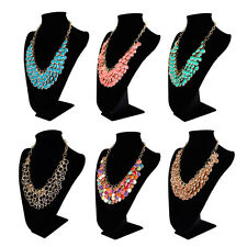 Elegant Gold Tone Resin Pendant Fashion Bib Statement Necklace- Diff. Colors
