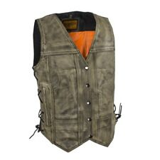 WOMENS MOTORCYCLE DISTRESSED BROWN LEATHER VEST w/ GUN POCKETS & LACES - DA76