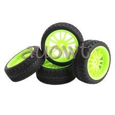 4pcs  RC Tyres 1 10 RC Rims Green 12 Spoke Rubber Plastic RC Racing Wheels Tyres