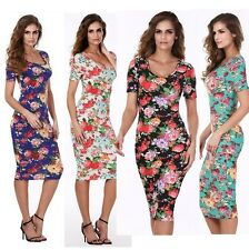 Summer DRESS Floral FLOWERS Elegant WOMEN'S LADY Short SLEEVE Pencil dress Size