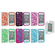 Hybrid Zebra Hard/Soft 2-Piece Cover Case+Screen Protector for iPhone 4 4G 4S