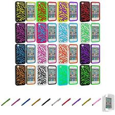 For iPhone 4 4S Hybrid Zebra Hard/Soft 2-Piece Case Cover+Screen Protector