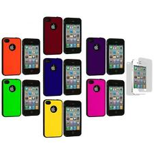 Color TPU Bumper Hybrid Hard Case Cover+Screen Protector for iPhone 4S 4G