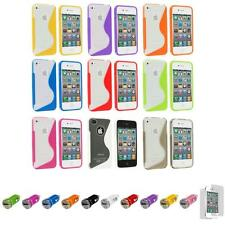 For iPhone 4S 4 TPU Color Clear S-Line Rubber Case Cover+Car Charger+LCD