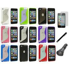 TPU S-Line Deluxe Rubber Case Cover+LCD+Charger+Pen for iPod Touch 4th Gen 4G 4