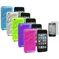 TPU Zebra Rubber Skin Case Cover+Screen Protector for iPod Touch 4th Gen 4G 4