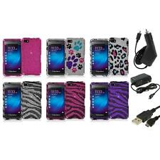 Diamond Rhinestone Bling Hard Design Case Cover+3X Chargers for Blackberry Z10