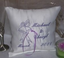 Personalized White Wedding Ring Bearer Pillow Embroidered Wedding Bells Ring Boy