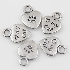 Wholesale 15/30Pcs Heart-shaped Charms Pendant Tibetan Silver Crafts DIY 12*9mm