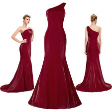 Sexy One Shoulder Fishtail Slim Evening Party Wedding Cocktail Formal Long Dress