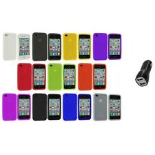 Color Silicone Rubber Gel Skin Case Cover Accessory+2A Charger for iPhone 4S 4G