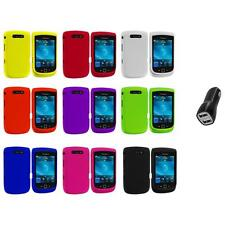 Color Hard Rubberized Cover Case+2.1A Charger for Blackberry Torch 9800 9810