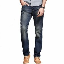 Retro Mens Casual Mid-Rise Jeans Pants Straight Trousers Cotton Denim Blue 29~36