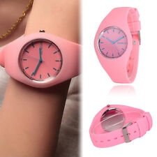 Womens Soft Jelly Silicone Band Dial Quartz Analog Cute Sports Wrist Watch