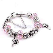 Charm DIY Tibetan Silver European Beads Pink Crystal Fish Beads Women Bracelet