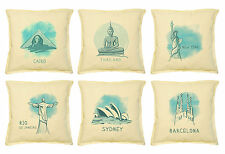 Vietsbay Cities drawing-2 Printed Khaki Decorative Pillows Cover Case VPLC_02