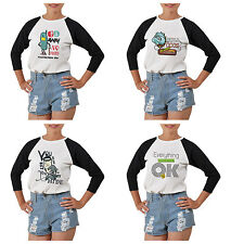 Funny Image Quotes Printed 100% Cotton Elbow Sleeves Raglan T-Shirt WTS_03