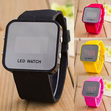 Fashion Creative Lady Men Mirror Face LED Date Sport Rubber Digital Wrist Watch