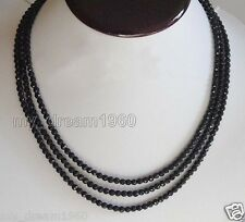 "A 4mm FACETED GENUINE TOP NATURAL BLACK ONYX BEADS NECKLACE 60"" LONG"
