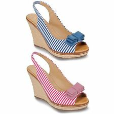 Women's Striped Bow Accent Peep Toe Ladies Causal Espadrille Shoes Wedges