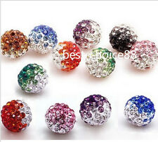 Free Ship 20pcs colorful Disco Ball Pave Crystal Spacer Beads Bracelet 10-12mm