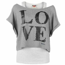 Lee Cooper Womens Double Layer T-Shirt Scooped Neck Short Sleeve
