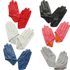 Women's Lady Half Hand Palm Leather Driving Evening Party Gloves Full Finger