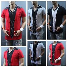 Men Stylish V-Neck T-Shirt Fashion Tee Casual Shirt Short Sleeve Black Red V-104