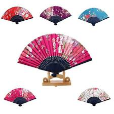 Chinese Japanese Flower Pattern Folding Hand Held Dance Fan Party Wedding Gift