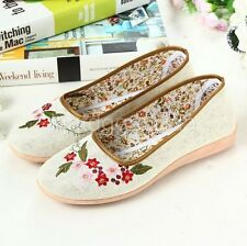 Women Leisure Loafers Slip-on Shoe Embroidery Linen Flats Breathable  1041772