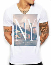 Distinkt Youth New York Bridge V Neck T Shirt Men Fitted Muscle NYC TOWIE Shore
