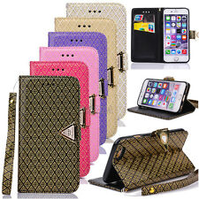 New Gold Embossing Leather Card Pocket Wallet Case For iPhone 4S 5S SE 6 6S Plus