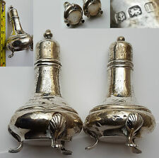 ANTIQUE - RARE SALT AND PEPPER POTS - HALLMARKED - SOLID STERLING SILVER 65.0g