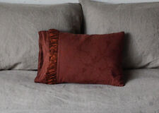 Celeste Boudoir Throw Pillow with Charmeuse Ruching-Display in BORDEAUX