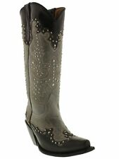 womens 13'' studded jet black gray leather western cowgirl cowboy boots snip toe