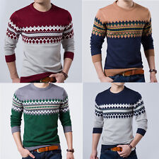 Mens Autumn Casual Long Sleeves Knitwear Round Collar Pullover Sweater Top