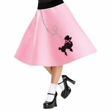 Poodle Skirt Adult 50s 50's Car Hop Soda Pink Costume Dress - S/M 2-8, M/L 10-14