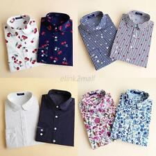 S-XXL Women's Loose Long Sleeve Cotton Casual Floral Shirts Tops Fashion Blouses