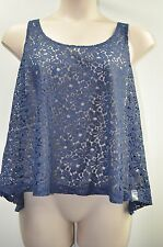 "Arizona Jean Jr Plus Top Blouse ""Stunning Sapphire"" Blue Lacy Sheer Racerback"