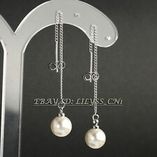 Fashion White Pearl Drop Dangle Earrings 18KGP